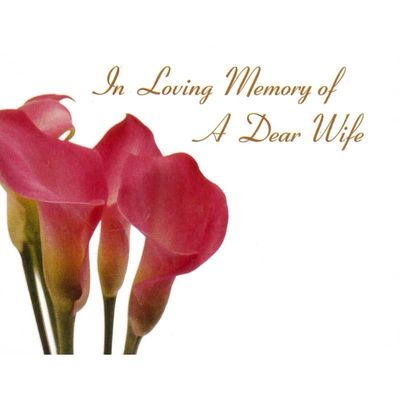 In Loving Memory Dear Wife - Pink Calla Lily Sympathy Cards (x50)