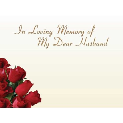 In Loving Memory Dear Husband -  Red Roses Sympathy Cards (x50)