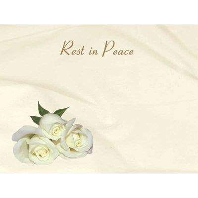 Rest in Peace - White Roses Sympathy Cards (x50)