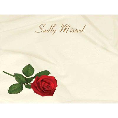 Sadly Missed - Red Rose Sympathy Cards (x50)