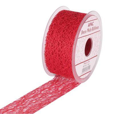 Red Decoweb Ribbon 50mm