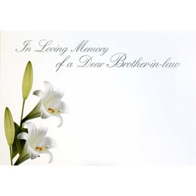 n Loving Memory Dear Brother-In-Law - Large Sympathy Cards (x25)