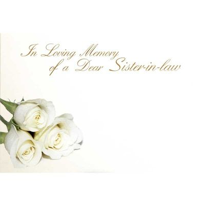 In Loving Memory Dear Sister-In-Law - Large Sympathy Cards (x25)