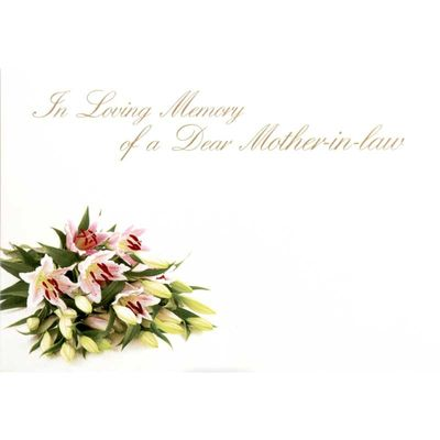 In Loving Memory Dear Mother-In-Law - Large Sympathy Cards (x25)