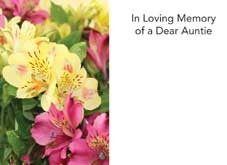 In Loving Memory Dear Auntie - Yellow/Pink Alstromeria Sympathy Cards (x50)
