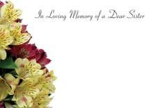 In Loving Memory Dear Sister - Yellow/Pink Alstromeria Sympathy Cards (x50)