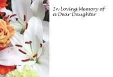 In Loving Memory Dear Daughter - White Lily Sympathy Cards (x50)