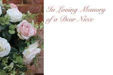 In Loving Memory Dear Niece - Pink Roses Sympathy Cards (x50)