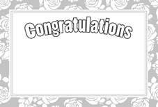 Congratulations- Silver Rose Border Greeting Cards (x50)