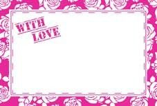 With Love- Pink Rose Border Greeting Cards (x50)