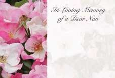 In Loving Memory Dear Nan - Pink Roses Sympathy Cards (x50)