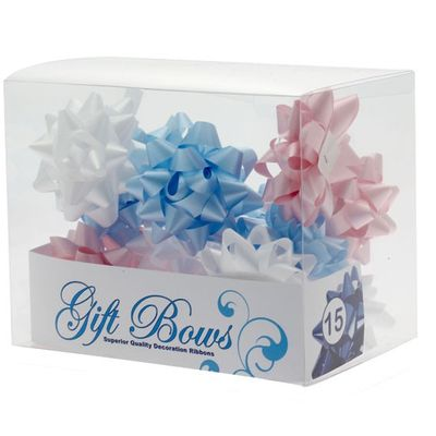 Blue white pink galaxy bows
