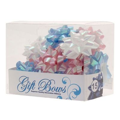 Iridescent blue white pink bows