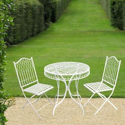 Hampton Cream Metal Bistro Set
