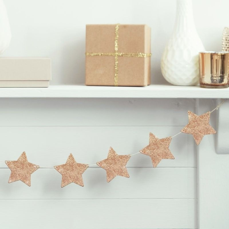 Wooden Rose Gold Glitter Star Bunting
