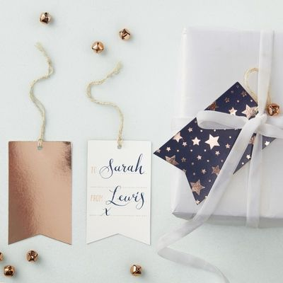 Navy and Rose Gold Metallic Gift Tags