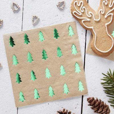 Green Foiled & Kraft Christmas Tree Napkins