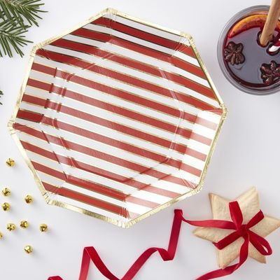 Gold Foiled Pin Striped Paper Plates