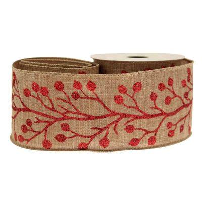 Natural & Red Berries Ribbon
