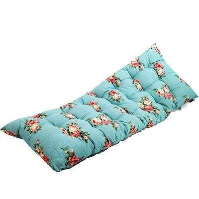 Blue Floral Print Bench Cushion