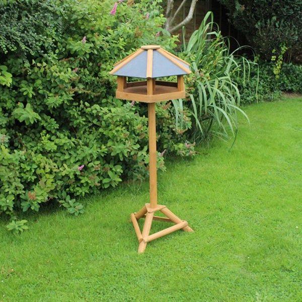Hexagonal Wooden Bird Table