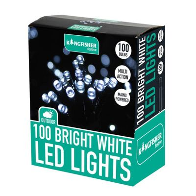 100 Bright White Multi Action LED Christmas Lights