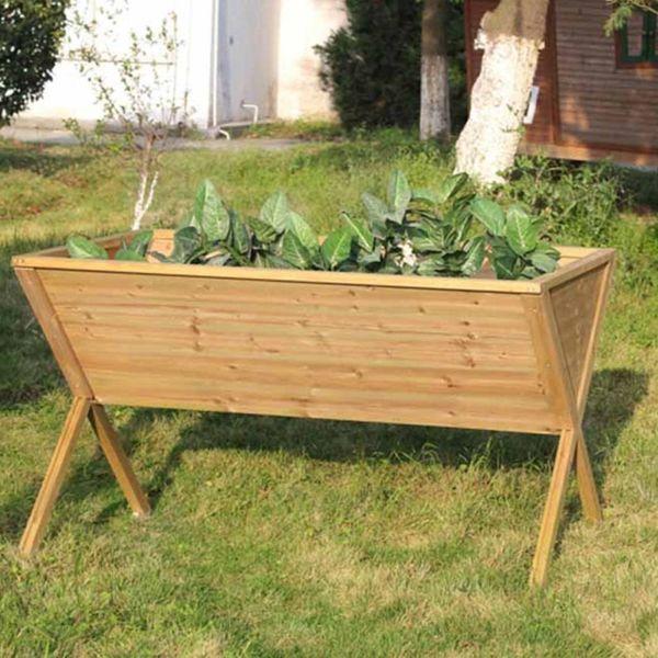 Freestanding Wooden Trough Planter