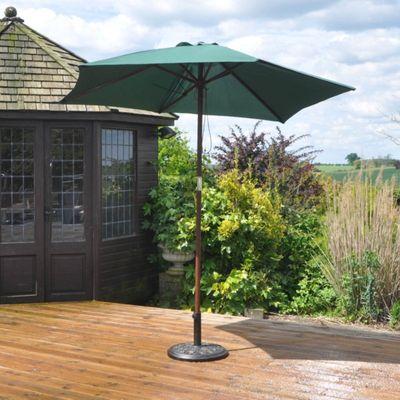 2.4M Wooden Green Garden Parasol