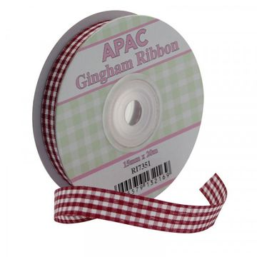 Burgundy Gingham Ribbon 15mm