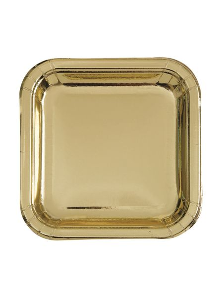 Metallic Gold Square Dessert Plate (8pk)
