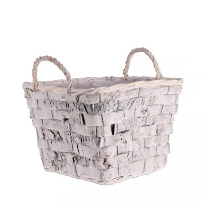 Arnesby Square Basket White wash Rustic