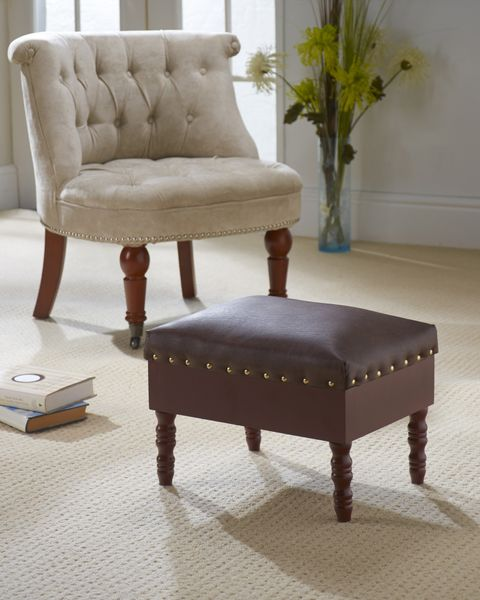 Faux Leather Storage Stool Closed