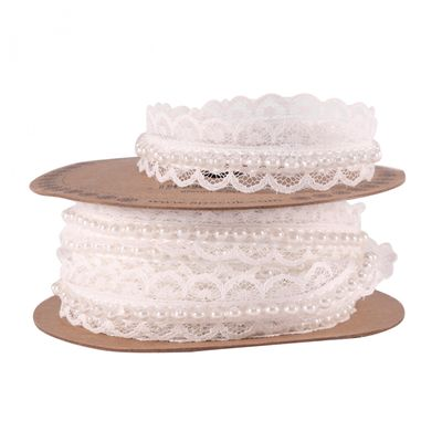 20mm White Lace Ribbon With Pearls