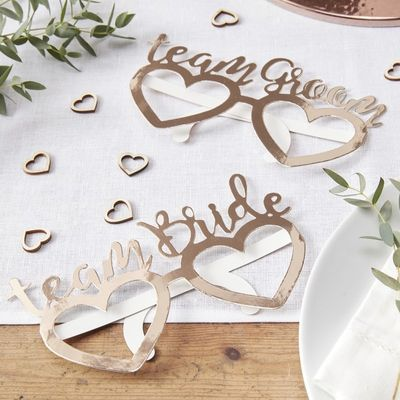 Rose Gold Team Bride Team Groom Glasses