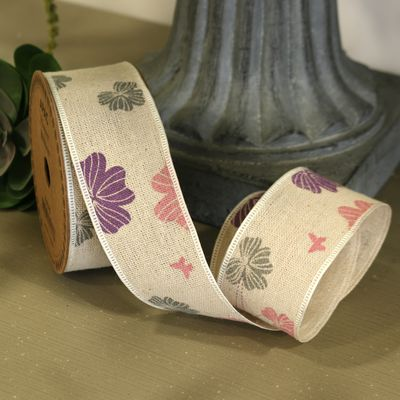 Rustic Colourful Flower Ribbon 40mm