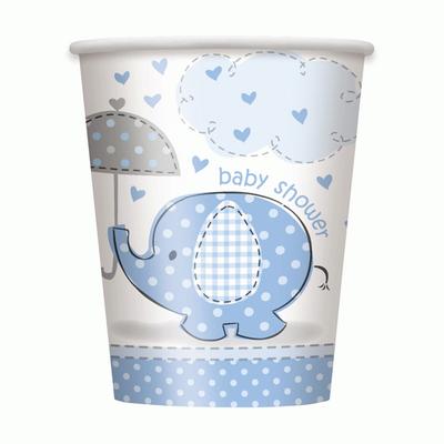 Umbrellaphants Baby Shower Blue 9 oz Paper Cup - pk8