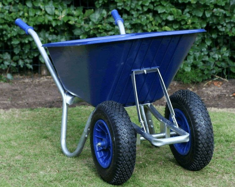 Maingate Twin Wheeled County Cruiser Compact Garden Wheelbarrow Blue