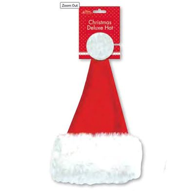 Deluxe Christmas Santa Hat with furry trim -41cm