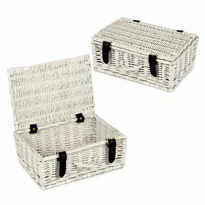 12 Inch White-Washed Wicker Hamper Basket