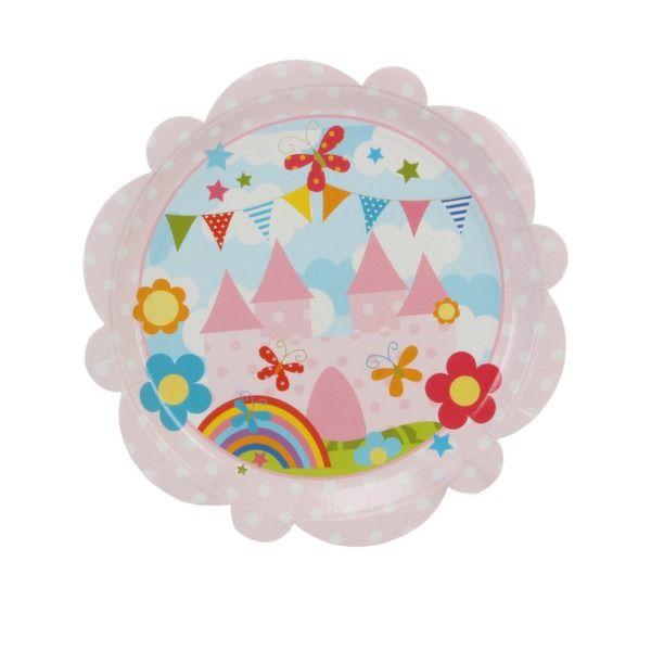 Kiddiwinks Partyware Pk of 8 Party Plates - Flower Shape Girls Design