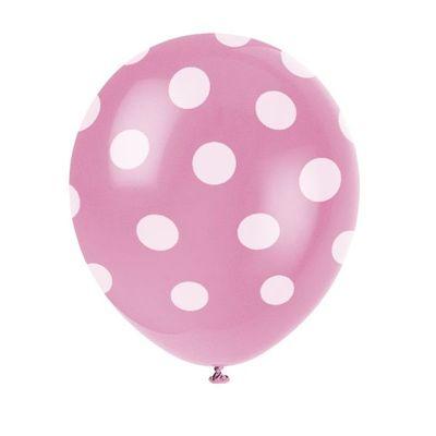 6 X Hot Pink Dots Balloons - 12 Inch