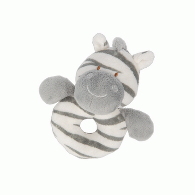 Zooma Zebra soft plush babys ring rattle by Suki Baby