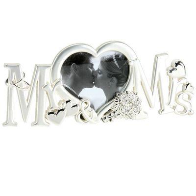 Juliana Silverplated Photo Frame - Mr & Mrs