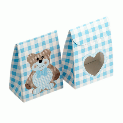 Teddy Bear Blue - Sacchetto with Heart Shaped Window 80mm