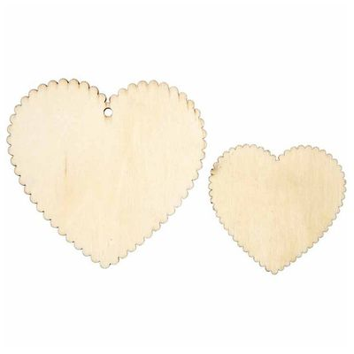 Wooden veneer hearts with, waved edges - 12pc