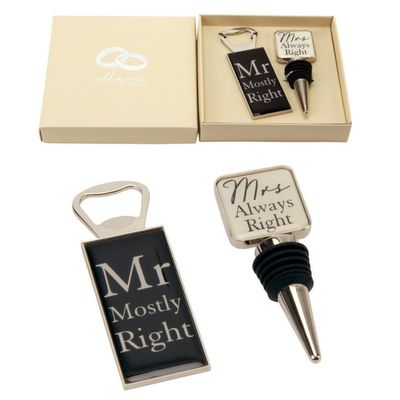 Amore By Juliana Mr & Mrs Bottle Stop and Opener Set