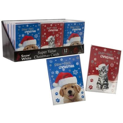 2asstd 12pc Xmas Cards Gift Pack In Pvc Box In Pdq
