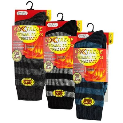 Mens Striped Thermal Socks by Red Tag - Size 6-11