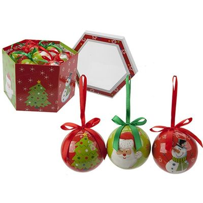 Set of  Polyfoam Shiny Baubles - 3 Assorted Designs