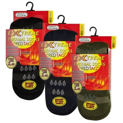 Mens Asst Thermal Slipper Socks by Red Tag - Size 6-11
